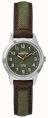 Timex Dial de couro verde mini testa de campo TW4B12000