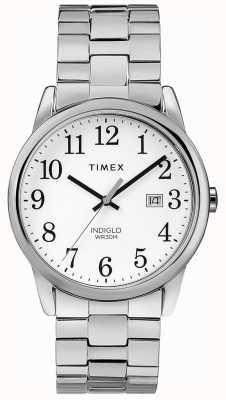 Timex Mostrador branco de aço inoxidável da faixa expansível dos homens 38mm TW2R58400