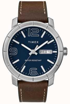 Timex Mens cinta de couro marrom mod 44 mostrador azul TW2R64200