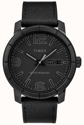 Timex Mens mod 44 pulseira de couro preto mostrador preto TW2R64300