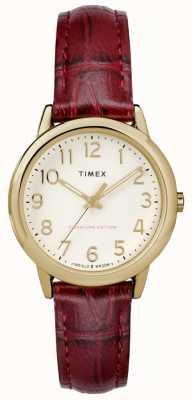 Timex Mulheres de 30mm fácil leitor Borgonha croc strap creme de discagem TW2R65400