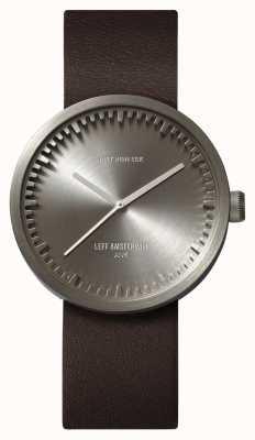 Leff Amsterdam Relógio de tubo d38 caixa de aço pulseira de couro marrom LT71002