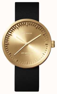 Leff Amsterdam Tubo de relógio d38 latão caso pulseira de couro preto LT71021