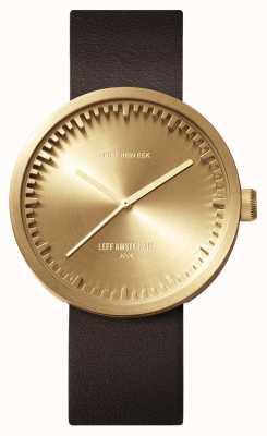 Leff Amsterdam Tubo de relógio d38 latão pulseira de couro marrom LT71022