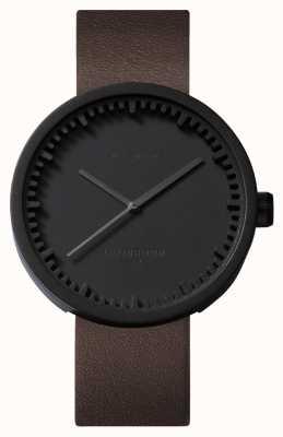 Leff Amsterdam Relógio tubo d42 preto caso pulseira de couro marrom LT72012