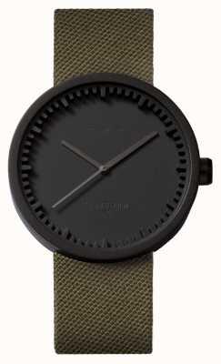 Leff Amsterdam Relógio tubo d42 caso preto pulseira cordura verde LT72014