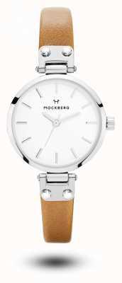 Mockberg Wera pulseira de couro marrom petite branco MO1404