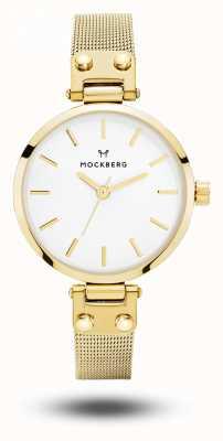 Mockberg Livia petite gold pvd pulseira de malha pulseira de discagem branca MO401
