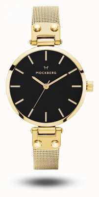 Mockberg Livia petite noir ouro pvd banhado malha pulseira mostrador preto MO403