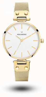 Mockberg Livia ouro pvd pulseira de malha pulseira de discagem branca MO1601