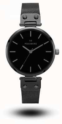 Mockberg Lio preto pvd banhado malha pulseira mostrador preto MO305