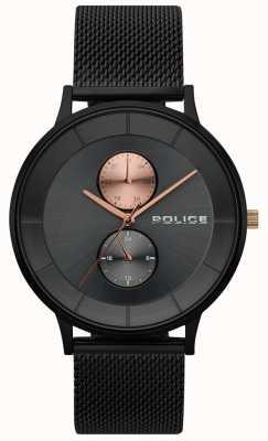 Police Mens berkeley preto relógio de malha 15402JSB/61MM