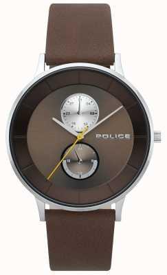 Police Mens berkeley pulseira de couro marrom 15402JS/12