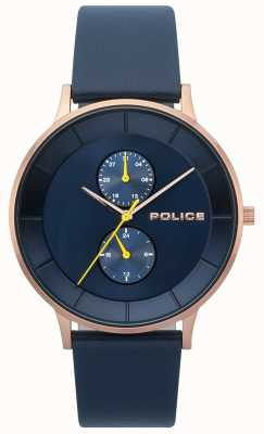 Police Mens berkeley relógio pulseira de couro azul 15402JSR/03