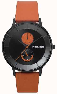 Police Mens berkeley relógio pulseira de couro laranja 15402JSB/02
