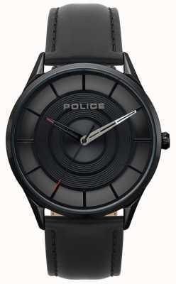 Police Mens burbank couro preto, preto caso ip relógio 15399JSB/02