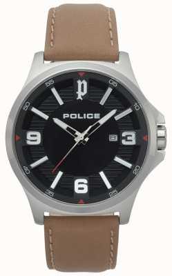 Police Mens clan luz marrom relógio de couro 15384JS/02