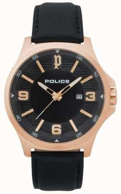 Police Mens clan relógio de couro preto 15384JSR/02
