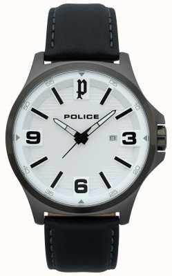Police Mens clan relógio de couro preto 15384JSU/04