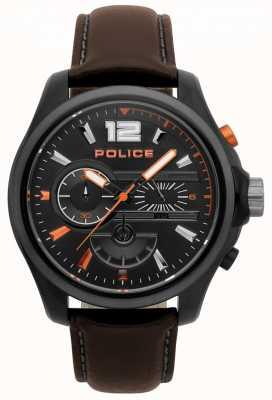 Police Mens denver relógio de couro marrom escuro 15403JSBU/02