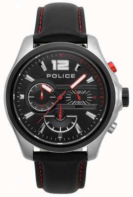 Police Mens denver preto e vermelho pulseira de couro 15403JSTB/02
