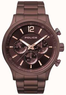 Police Mens feral marrom ip pulseira relógio 15302JSBN/12M