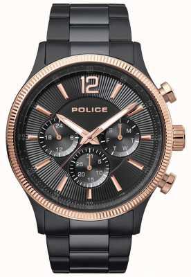 Police Mens feroz dois tons ip pulseira relógio 15302JSBR/02M