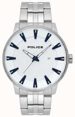 Police Mens flint de aço inoxidável relógio com mostrador branco 15391JS/04M