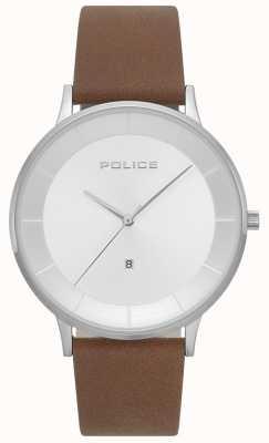 Police Mens fontana marrom couro relógio com mostrador prateado 15400JS/04