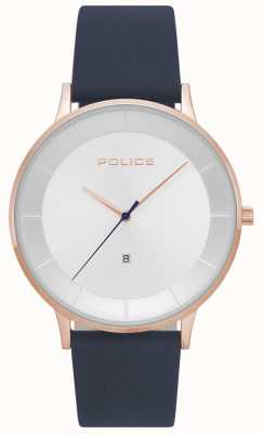 Police Mens fontana azul couro relógio de discagem de prata 15400JSR/04