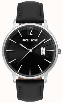 Police Relógio de couro preto da virtude dos homens 15307JS/02