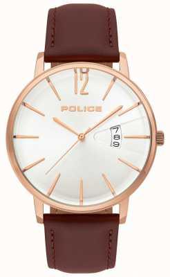 Police Relógio de couro marrom de virtude dos homens 15307JSR/01