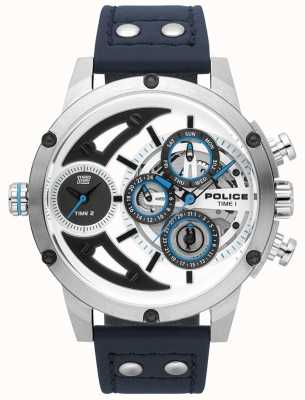 Police Mens scythe azul couro prata mostrador branco relógio 15406JS/04