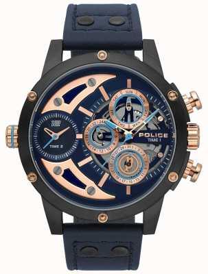 Police Mens scythe azul couro relógio com mostrador azul 15406JSU/03