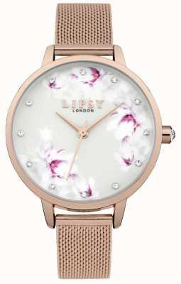 Lipsy Relógio de discagem de flor de malha de ouro rosa das mulheres LP577