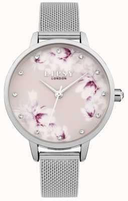 Lipsy Relógio de mostrador floral rosa prateado para mulher LP576