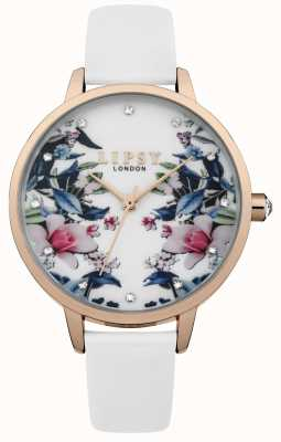 Lipsy Relógio de mostrador floral com alça branca para mulher LP572