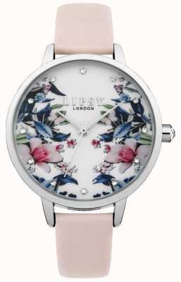 Lipsy Relógio de mostrador floral com tira rosa para mulher LP573