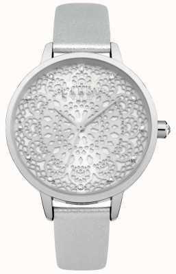 Lipsy Relógio de discagem de renda de prata das mulheres LP570