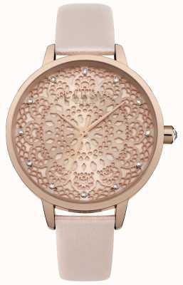 Lipsy Womens rosa de ouro padrão de renda relógio de discagem LP571