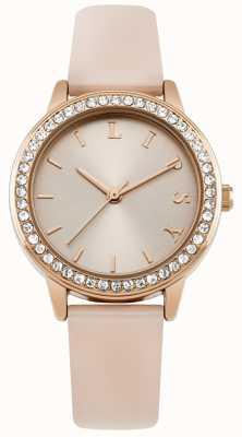 Lipsy Cinta rosa das mulheres, rosa mostrador de relógio de ouro LP565