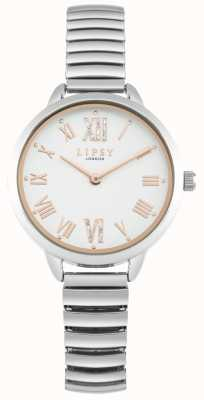 Lipsy Relógio de pulseira de prata expansível para mulher LP578