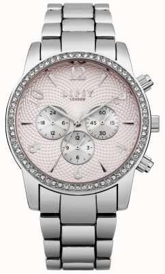 Lipsy Relógio de pulseira de prata de discagem rosa das mulheres LP562