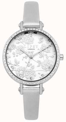 Lipsy Relógio de mostrador floral prateado para mulher LP567