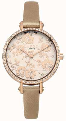 Lipsy Womens rode pulseira de ouro com mostrador floral em ouro rosa LP584