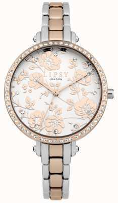 Lipsy Relógio floral de dois tons para mulher LP569