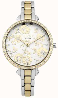 Lipsy Relógio floral de dois tons para mulher LP568