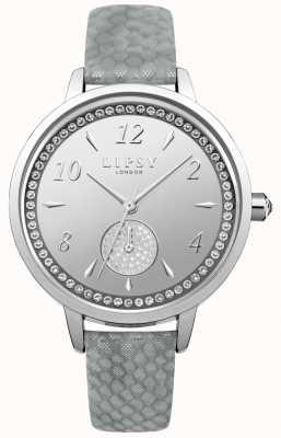 Lipsy Relógio de mostrador prateado cinta cinza Womens LP581