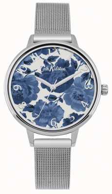 Cath Kidston Relógio de malha de prata floral para mulher CKL051SM