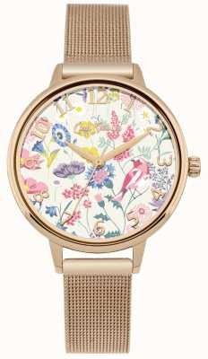 Cath Kidston Dial floral das mulheres subiu relógio de malha de ouro CKL051RGM